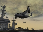 The V-22 Osprey landing on the deck of an aircraft carrier. Image courtesy of AVSIM Online and JFHL.