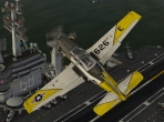 JRollon's T-34C Mentor model in a flyby over an aircraft carrier. Image courtesy of AVSIM Online and Comanche.