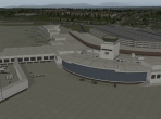 A view of an international airport in X-Plane 10