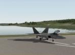 The Lockheed Martin/Boeing F-22 Raptor on an X-Plane 10 runway