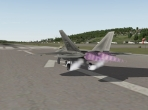 The X-Plane 10's F-22, preparing for a full-throttle takeoff