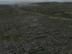 A densely packed city in X-Plane 10