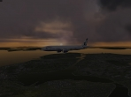 X-Plane 10's Boeing 777 in the twilight sky