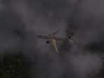 X-Plane 10's Boeing 777 among the clouds