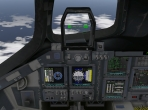 The cockpit of the Space Shuttle Orbiter in X-Plane 10