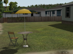 A suburban back yard in X-Plane 10, later in the day