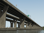 An X-Plane 10 bridge, seen from below