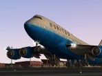 The Boeing 747 pulling its nose up in takeoff