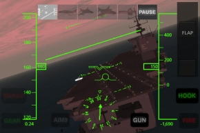 A carrier landing at night in X-Plane Carrier
